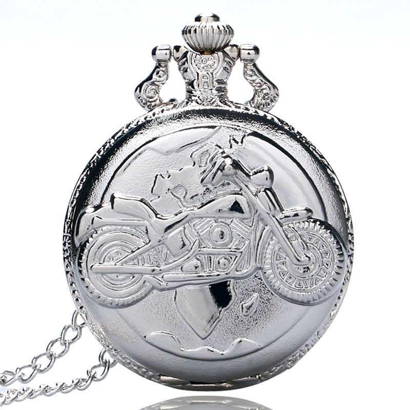 Vintage Silver Motorcycle Quartz Pocket Watch Pendant Necklace Watches Men Women Gift P455