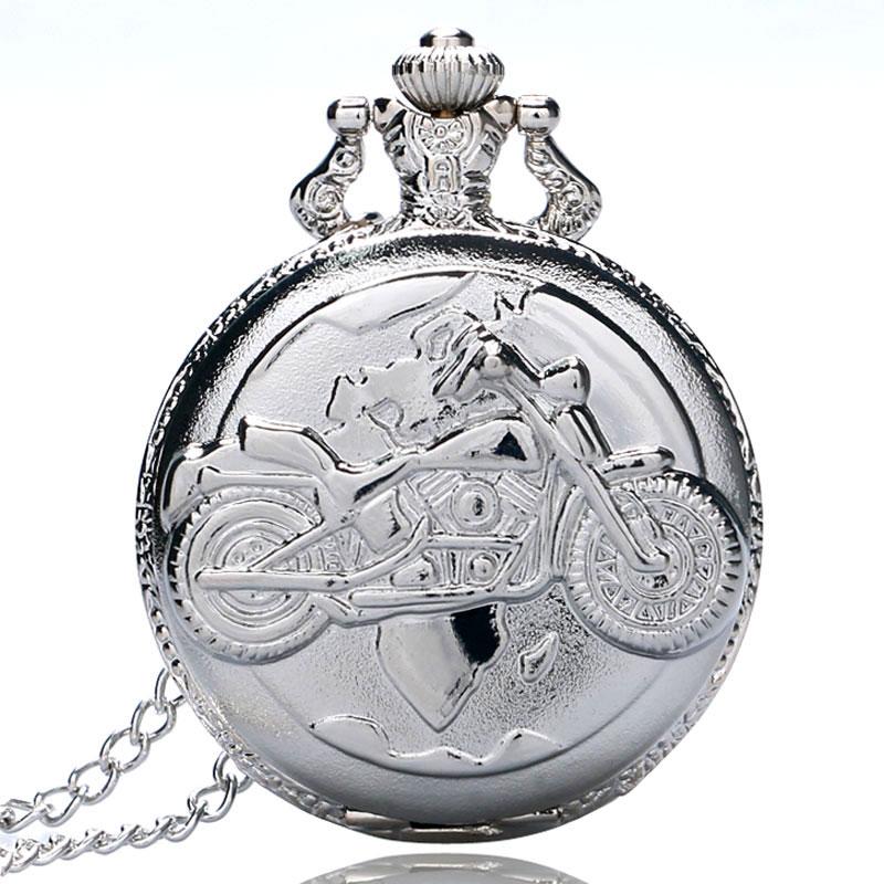Vintage Silver Motorcycle Quartz Pocket Watch Pendant Necklace Watches Men Women Gift P455