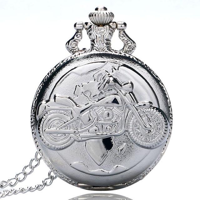 Vintage Silver Motorcycle Quartz Pocket Watch Pendant Necklace Watches Men Women