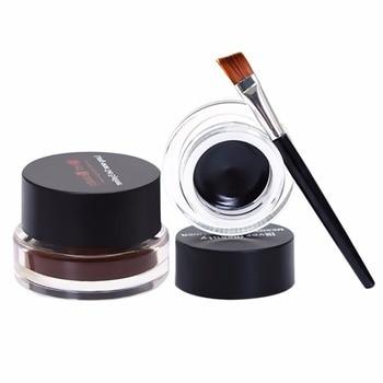 2017 Eyeliner Cream Makeup 2 in 1 Brown + Black Gel Eyeliner maquiagem Water-proof Blush Eyeliner Kit With Brush 16g