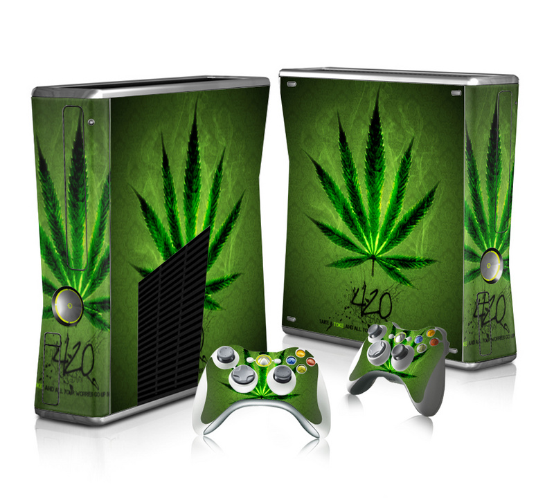 Green Weed Vinyl Decal Skin Sticker for Microsoft Xbox 360 Slim and 2 Controller Skins Sticker for Xbox 360 Slim