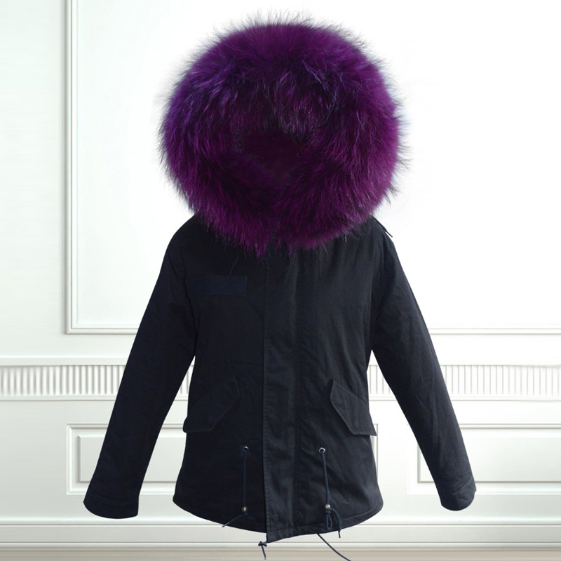 2017 Elegantní teplá fialová liška kožich podšívka mýval kožešinová límec bunda zimní svrchní oděvy dámské kabáty paní kožešinová parka