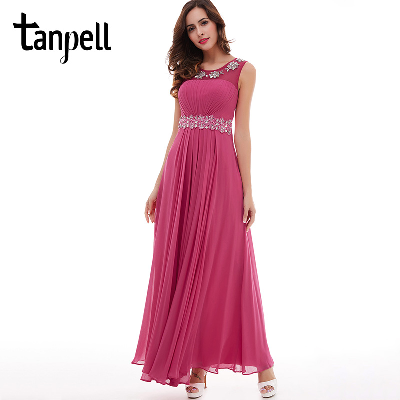 Tanpell peach prom dress new beading appliques pleated chiffon a ...