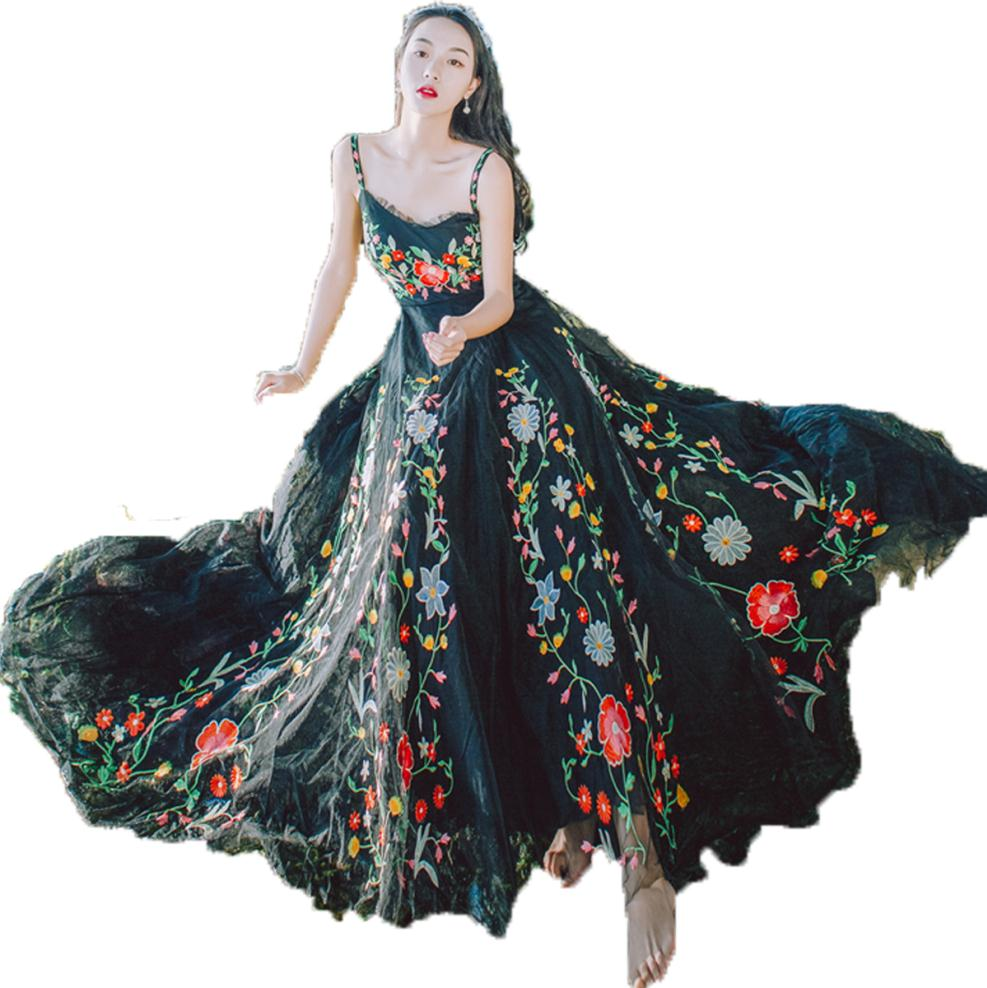Runway Designer 2018 Mesh Flower Embroidered Summer Dress Women Tulle Crochet Lace Long Dresses Maxi Dress
