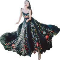 Runway Designer 2018 Mesh Flower Embroidered Summer Dress Women Tulle Crochet Lace Long Dresses Maxi Dress Vestido Encaje Largo