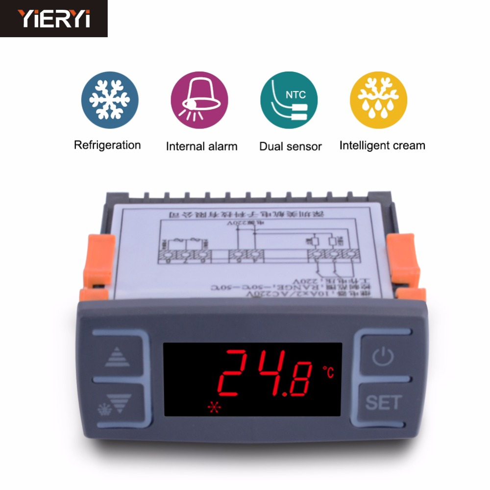 yieryi MH1210E AC220V Digital Refrigerator Temperature Controller Freezer Refrigeration Defrost Thermostat with Alarm Function