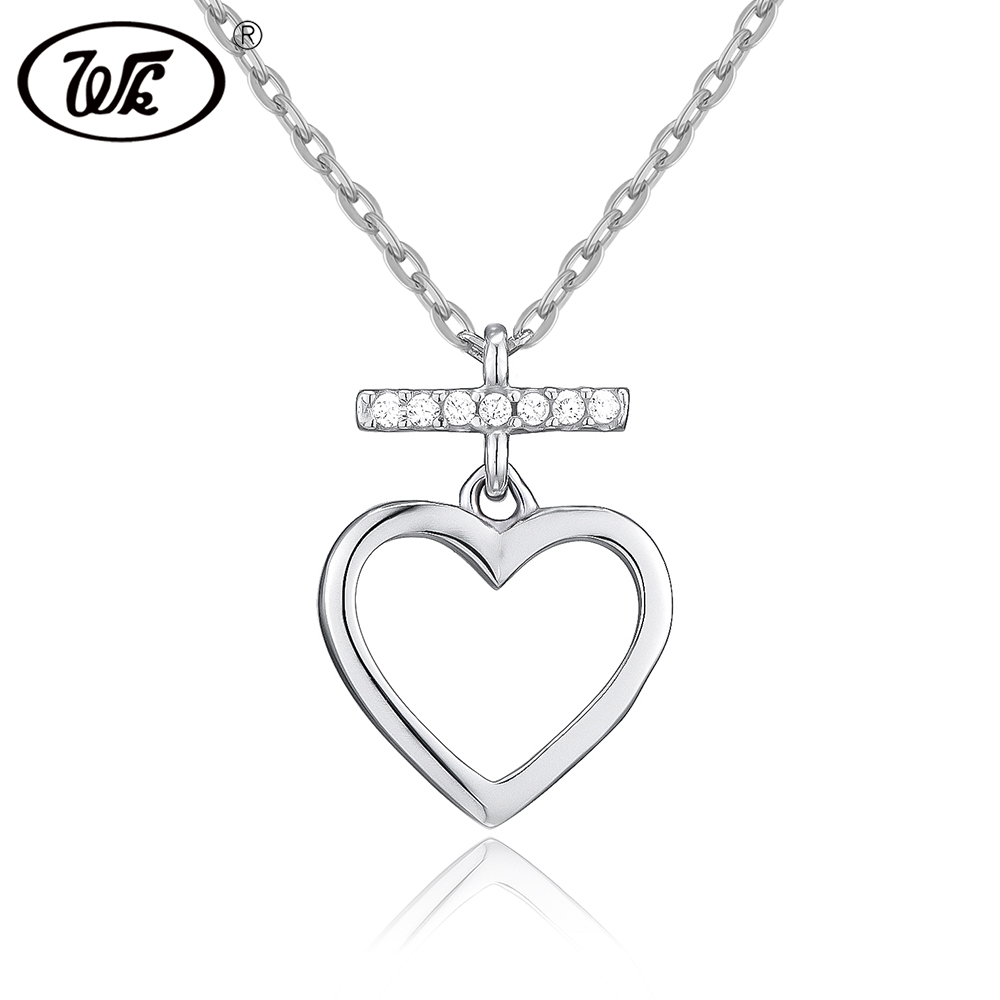 b2b122320a2 WK Beautiful Love Heart Pendant Silver Necklace For Women Ladies Elegant  Charm Jewelry Gift Link Chain Collares SW 925 NB019