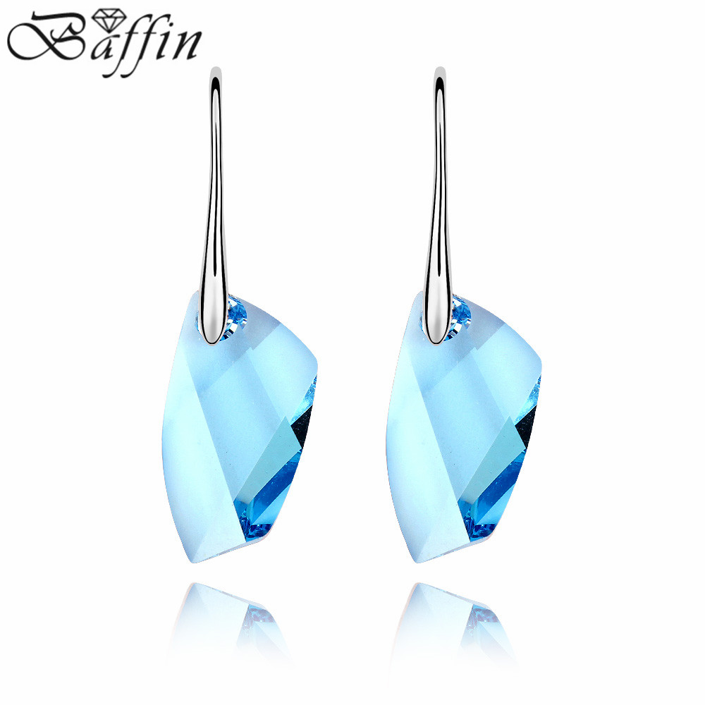 High Quality 100% Genuine Crystals From Swarovski Earrings Perfect  Geometric Cutting Fine Jewelry For Women
