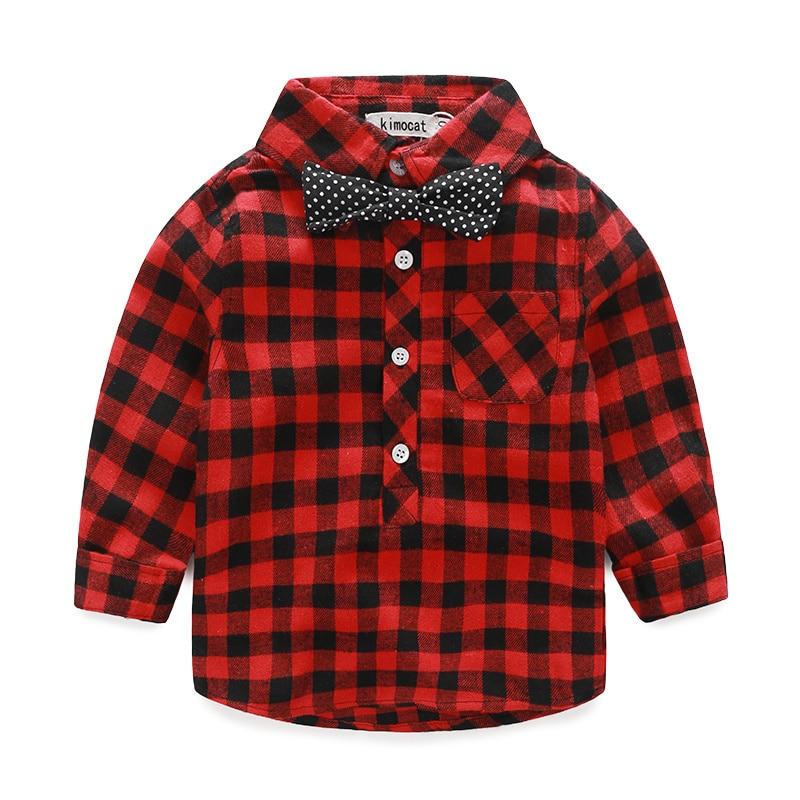Trendmarkierung 2016 Herbst Winter Mode Junge Shirt & Blusen Casual Plaid Gentleman Baumwolle Krawatte Shirt Für Jungen Kinder Hübsche Shirt Jungen Kleidung Mutter & Kinder