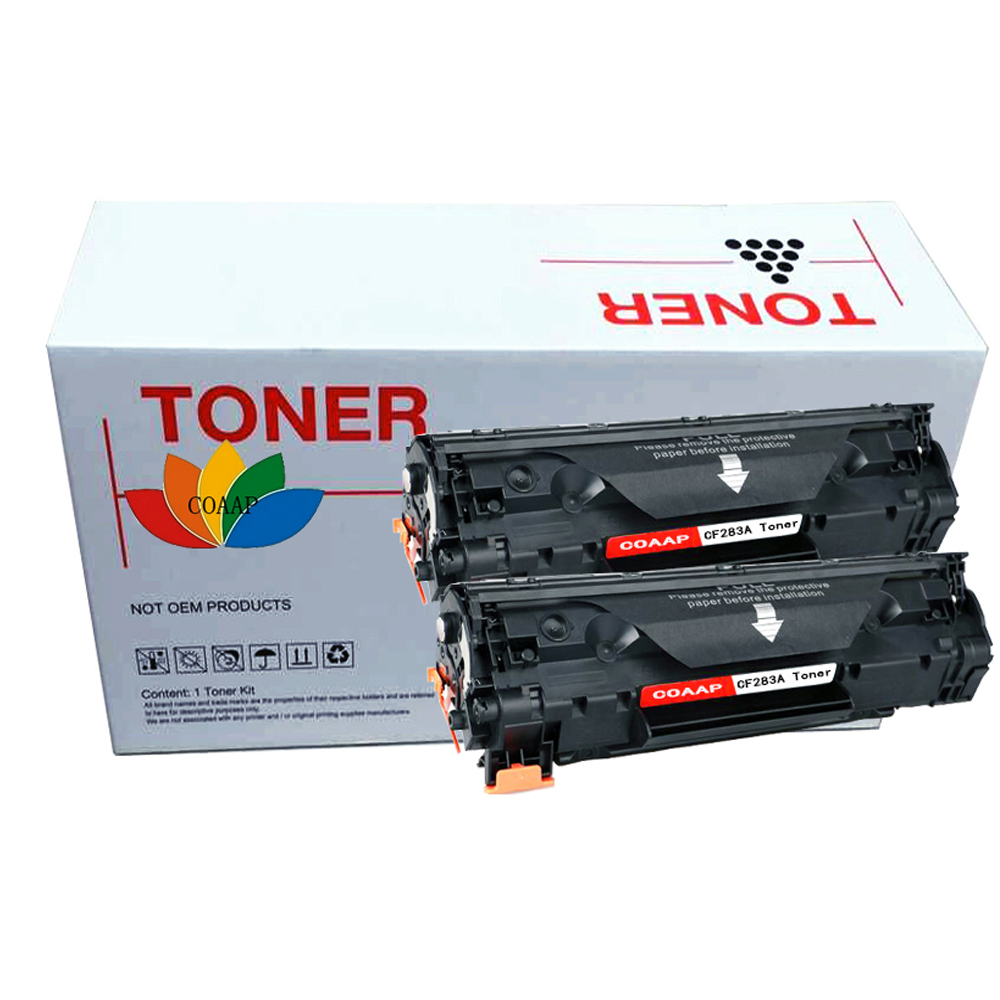 COAAP 83A CF283A CF283 A CF 283A (2-Pack Black) Toner Cartridge Compatible for HP LaserJet Pro MFP M127fn/M12fw/125NW chip for hp color cf 362 x cf 360 a 361 a cf 361 m553 n 553 mfp kcmy printer compatible chips free shipping