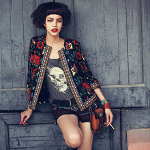 Slim Fashion Coat Jacket Women Spring Autumn Outerwear Vintage Women Lady Ethnic Floral Print Embroidered Short Jacket
