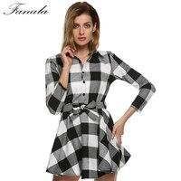 New Arrivals Women Dress Black Plaid Printed Blouse Dresses Fashion 3 4 Sleeve Mini Vestidos With