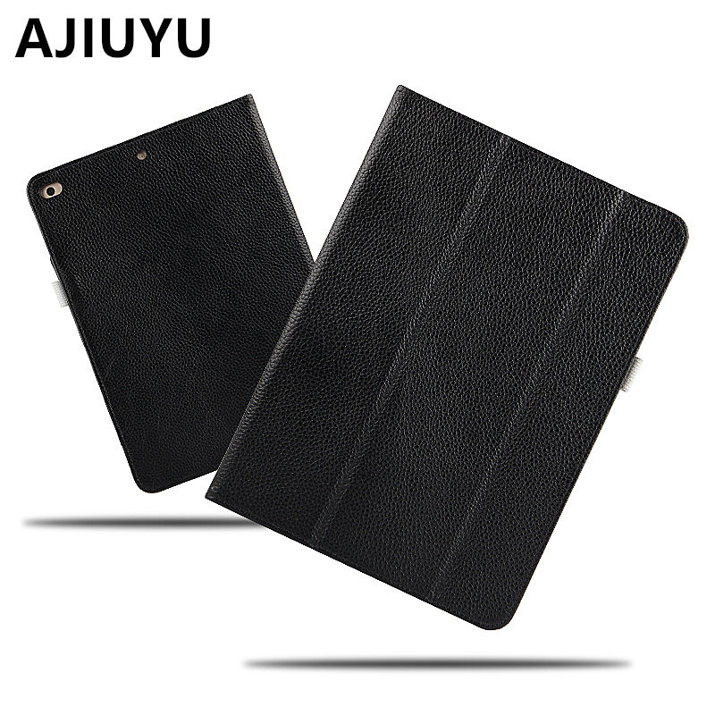 AJIUYU Case Cowhide For Apple iPad 9.7 inch New 2017 Cases Protective Smart Cover Protector Genuine Leather Tablet newiPad9.7 case cover for goclever quantum 1010 lite 10 1 inch universal pu leather for new ipad 9 7 2017 cases center film pen kf492a
