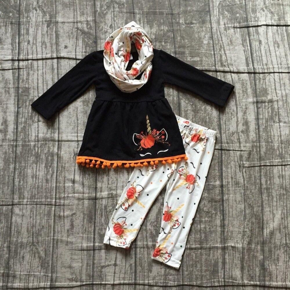 Halloween thanksgiving otoño/invierno 3 unidades bufanda bebés niños trajes unicornio calabaza pantalones pom boutique ropa