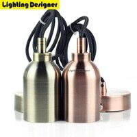 Copper Aluminum pendant light E40 Lamp holder 220V led bulb Incandescent Edison bulb LED Vintage Retro decor hanging Lamp