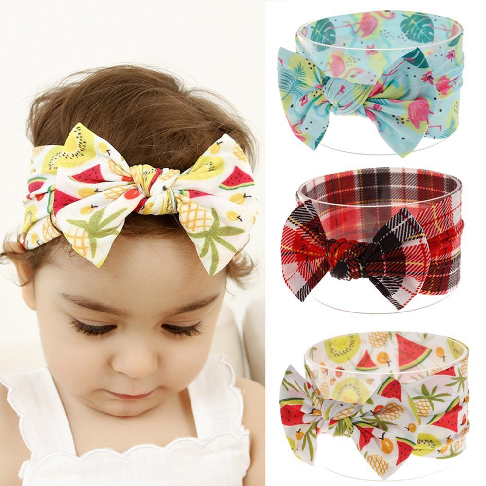 Adjustable Bowknot Flower Baby Headband Cotton Floral Hairband Fruit Printed New