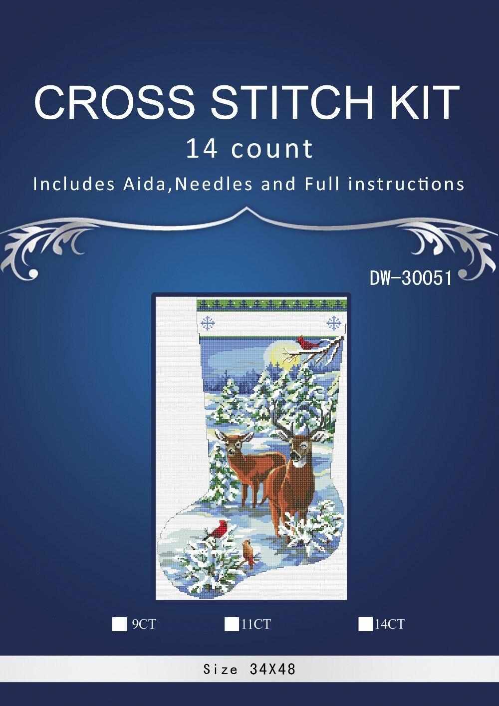 Vánoční ponožka 30051 STYLE Křížový steh s počítáním 14CT Sady velkoobchodních kreseb Soupravy s křížovým stehem Vyšívání Vyšívání