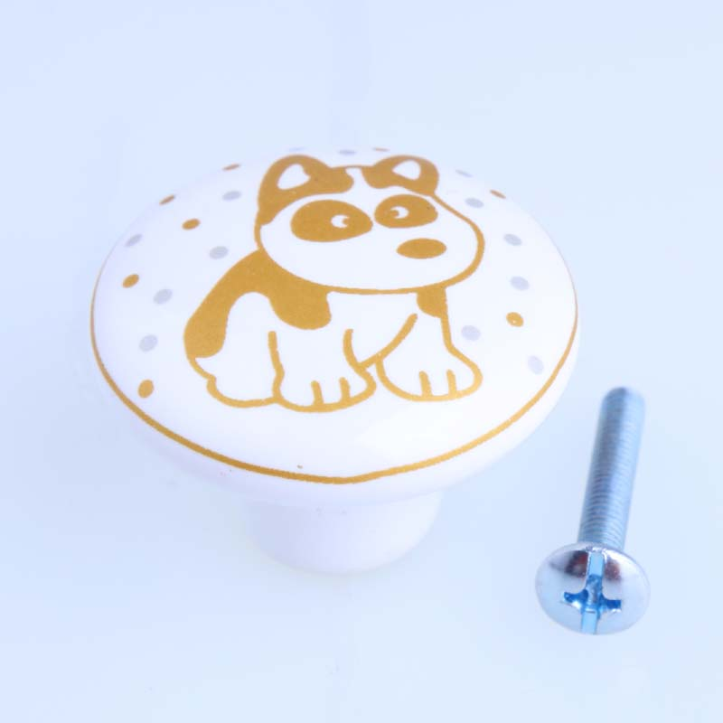 lovely cartoon ceramic chirldren room furniture samll flower dog drawer shoe cabinet dresser door handles knobs
