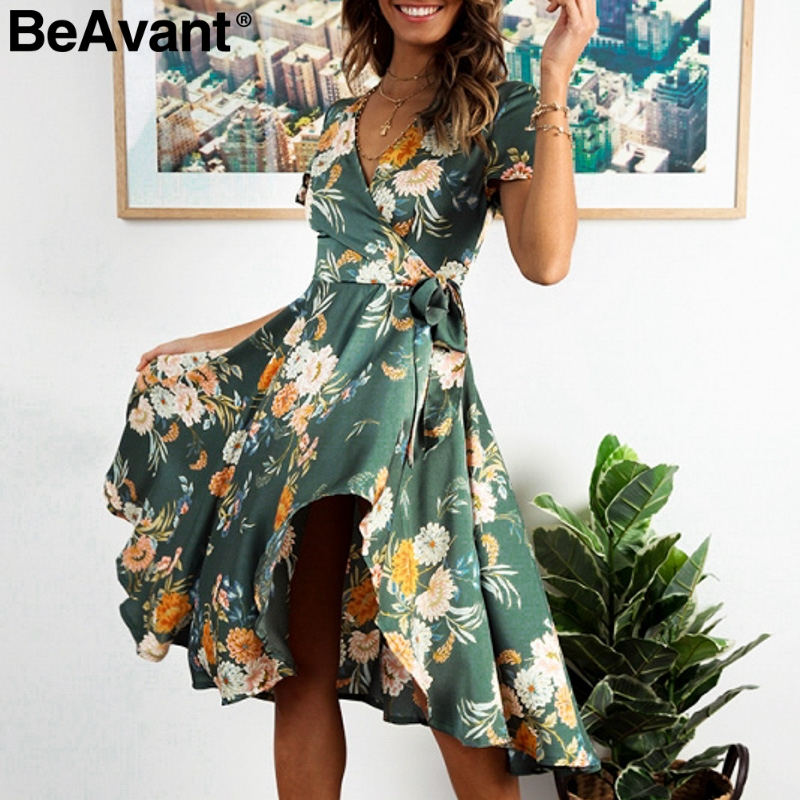 BeAvant Vintage print floral summer dress women High waist sash short dress 2019 V neck wrap loose pleated dress female vestidos