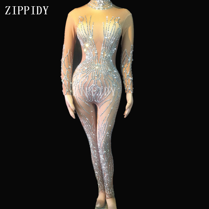 Silver Rhinestones Nude Jumpsuit Sexy Performance Bodysuit Female Singer Rompers Stage -9661