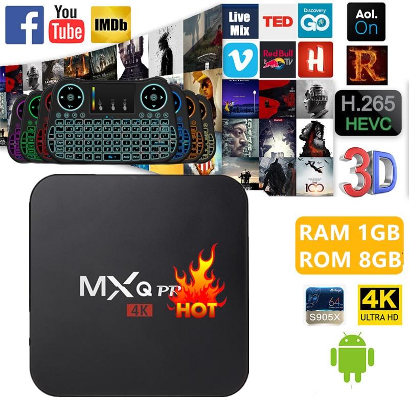 MXQ PRO Android 6.0 AmlogicS905X/S905 Quad Core 1 GB RAM 8 GB ROM KD jouer 4 K 2.4G WiFi Smart Tv Box Media Player Set-top boîtes