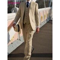 Linyixun 2018 Latest bruiloft men Beige Linen Suit Summer Beach Slim Fit 3 Piece Groom Tuxedo Custom Blazer Prom mens suits Masc