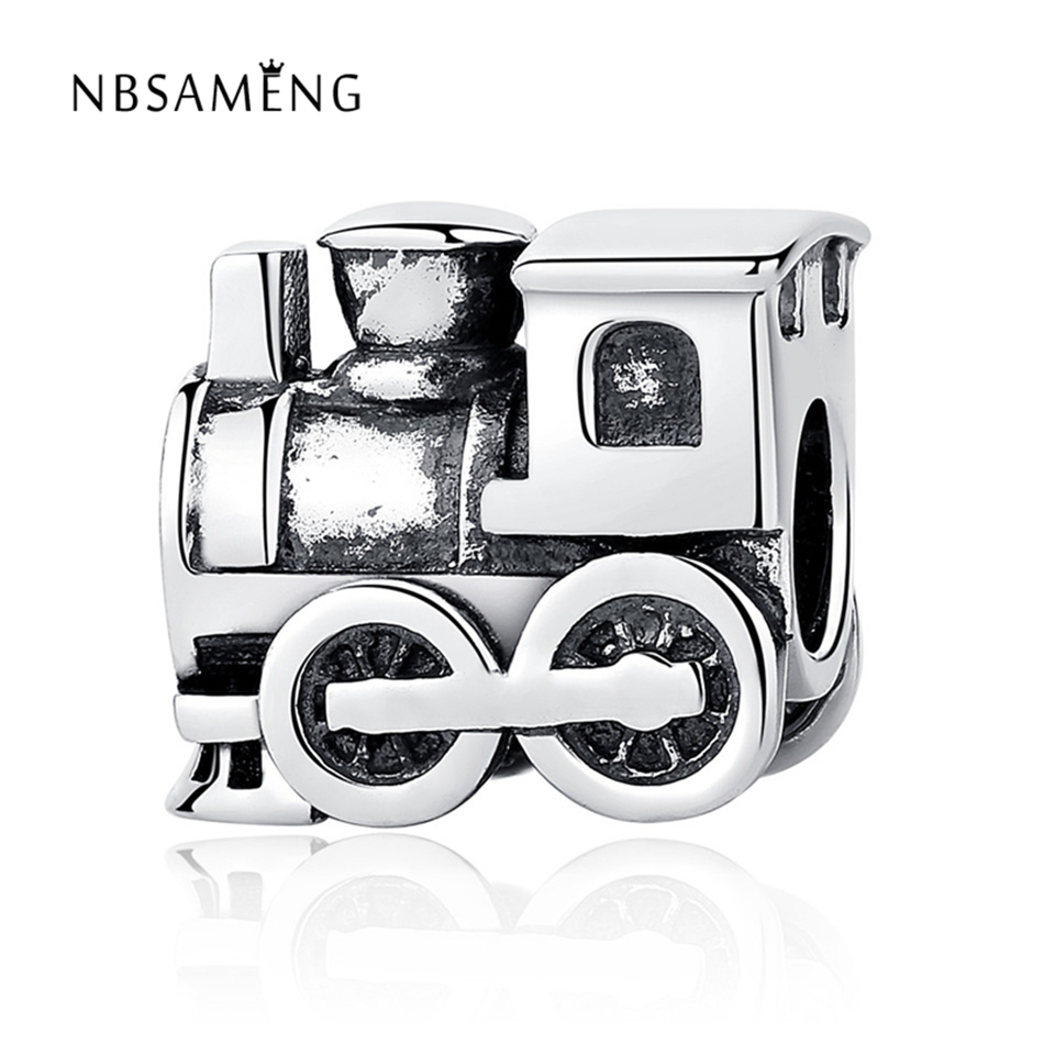 Authentic 100% S925 Sterling Silver Railway Engine Bead Threaded Holes Train Charm Fit Pandora Bracelet DIY Charms Jewelry