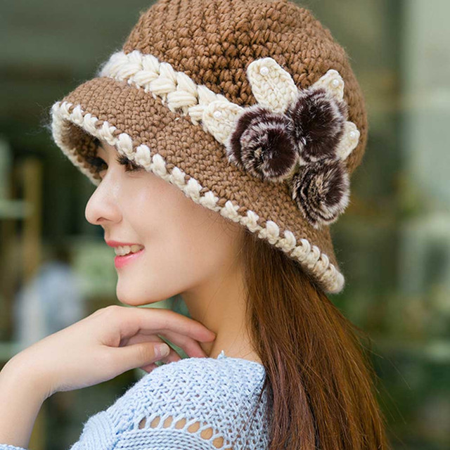 Moda 2018 mujer señora Invierno Caliente gorras hermosa ganchillo ...