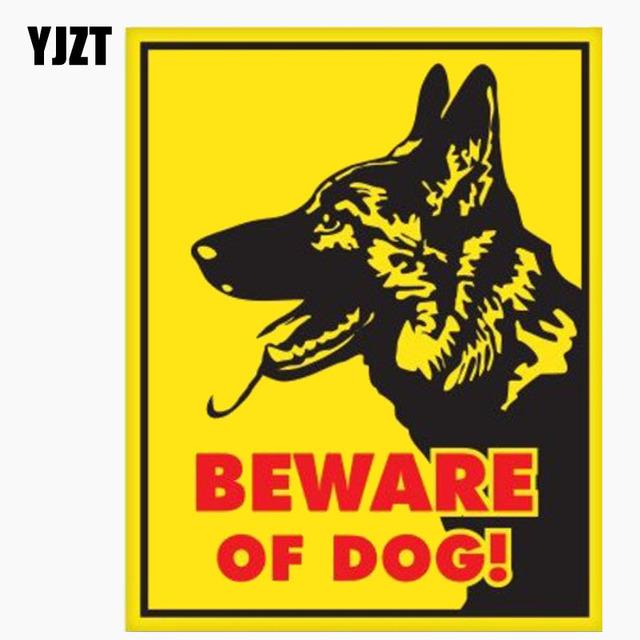 YJZT 12.7CM*16CM German Shepherd Beware Of Dog Sign Car Window Reflective Car Sticker C1-7663