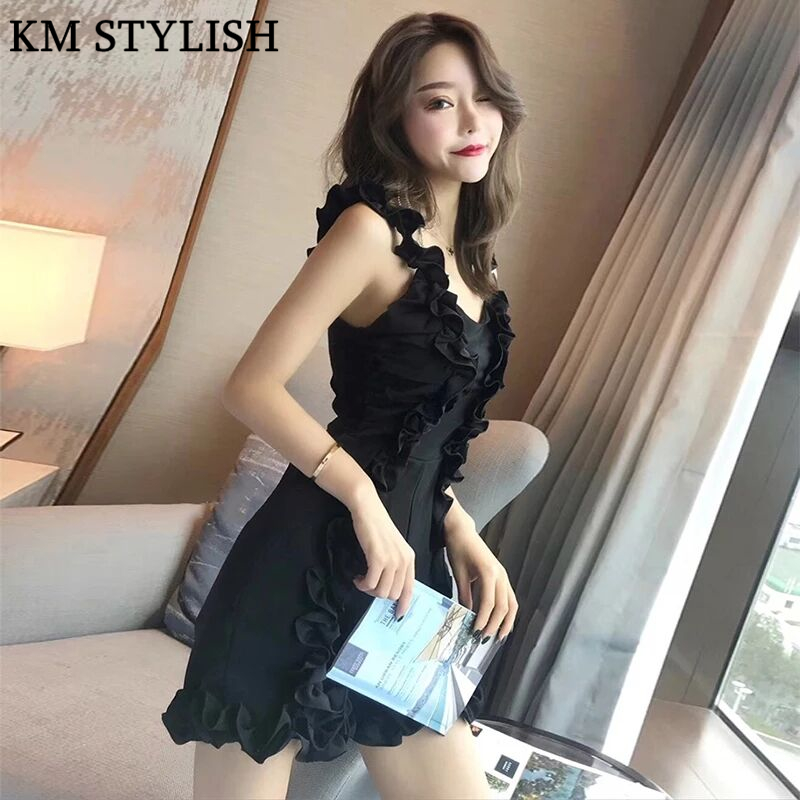 Thailand Tide Brand 2018 Summer New Sexy Playsuits V-neck Wrinkled Wood Ear Strap Lace Thin Siamese Jumpsuits Black & Blue color