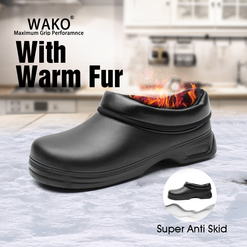 WAKO Men Women Non-Slip Fur Warm Chef Shoes Fluffy Anti-Skid Kitchen Safety Work Shoes For Winter Cold Storage Factory 9031-0