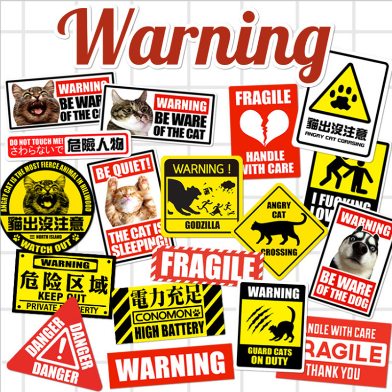 15PCS cute animal warning signs cordon suitcases car sticker street fashion waterproof suitcase stickers