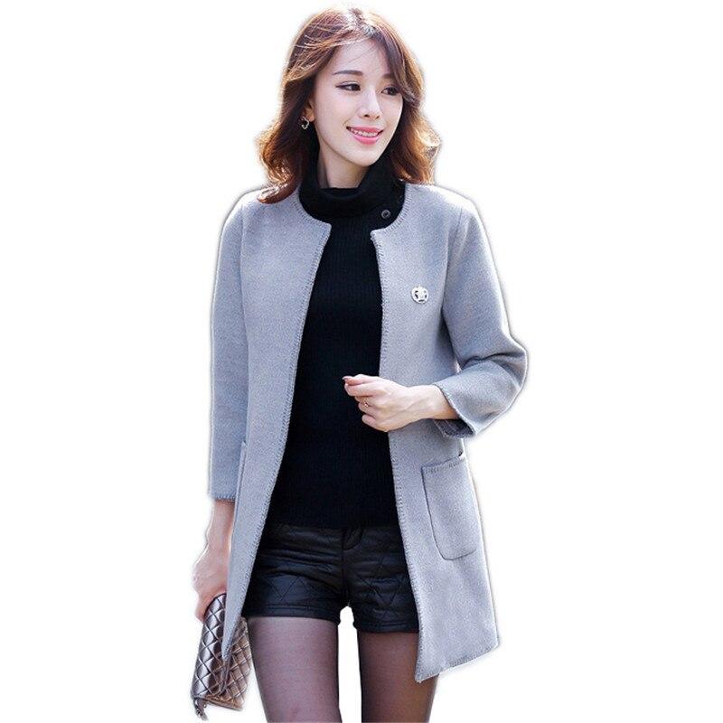 Spring Autumn Women's Outerwear 2018 New Round Neck Slim Wild Female Overcoat Mid long Long