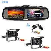 DIYKIT Dual 4 3 Inch Screen Rearview Car Mirror Monitor 2 X CCD Waterproof Car Rear
