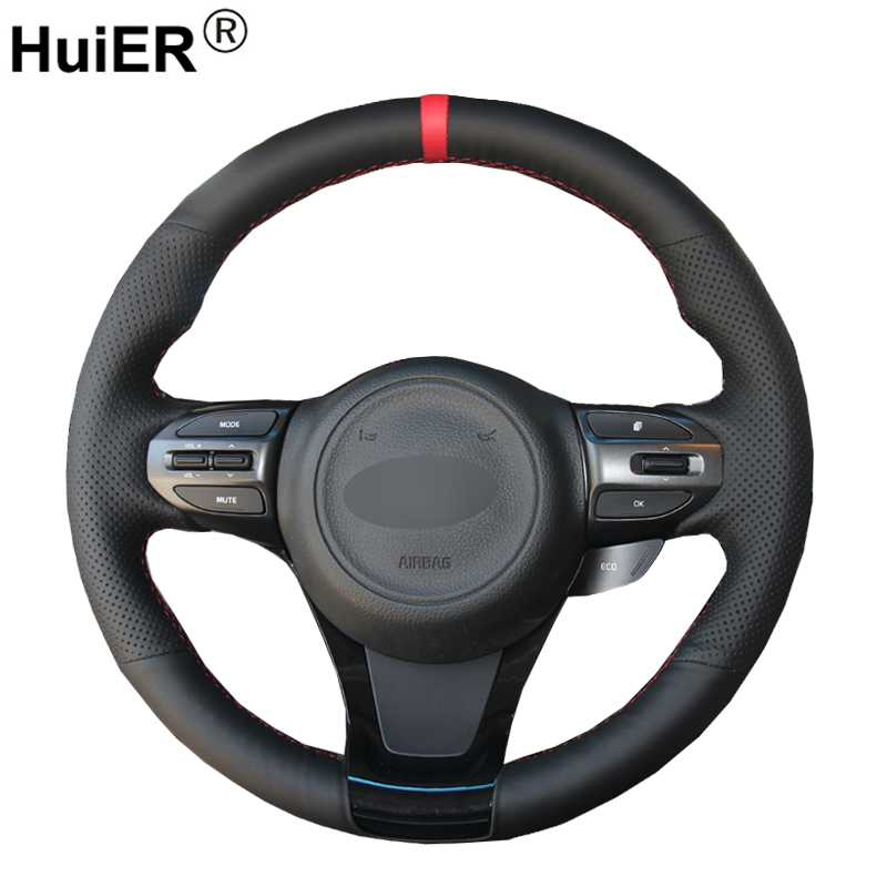 HuiER Hand Sewing Car Steering Wheel Cover Braid on the Steering wheel Wrap Volant For Kia K5 Optima 2014 2015 Car Protector
