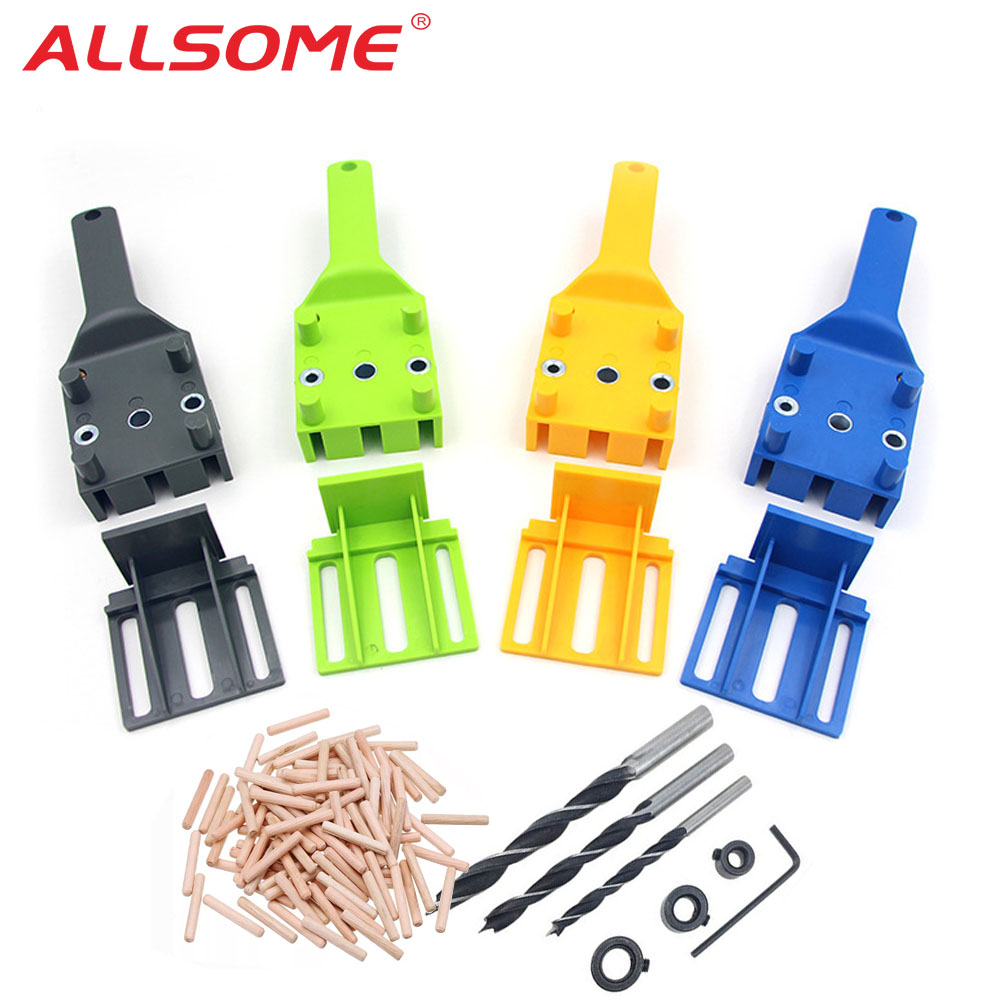 ALLSOME Dowel Jig 6 8 10mm Wood HSS Drill Bits Woodworking Jig ABS Plastic pocket hole jig Drill Guide Tool For Carpentry HT2638
