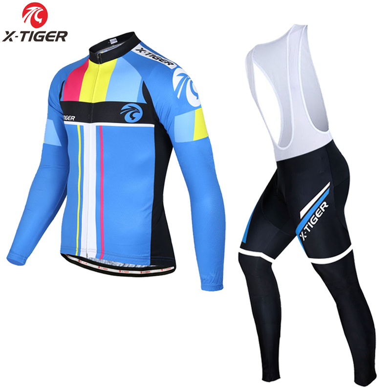 X Tiger Pro Spring Cycling Jersey Set Long Sleeve MTB Bike Wear Clothes Bicycle Cycling Clothing