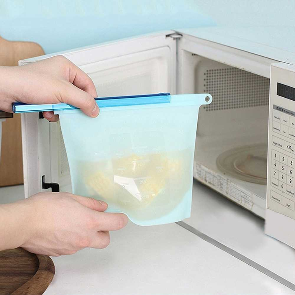 8PCS Food Silicone Fresh Bag Reusable Vacuum Sealed Freezer Bag Slide Lock Snacks/Sandwiches Marinades Storage Bags Kitchen Tool