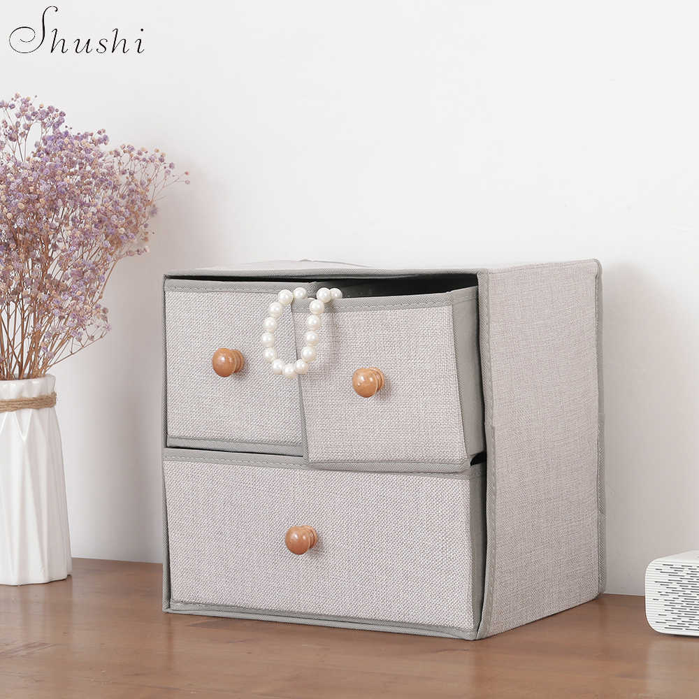 SHUSHI 2019 ホット販売多機能収納ボックスハンドルファッション品質リネン折りたたみ下着服プラス収納引き出し