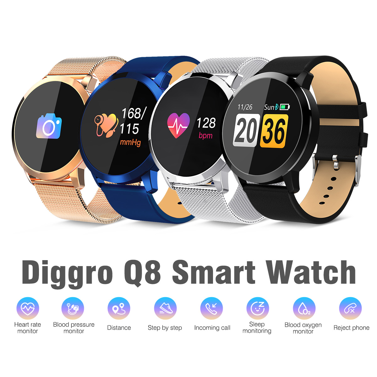 Galleria fotografica Diggro Q8 OLED Bluetooth Intelligente Orologio In Acciaio Inox Impermeabile Indossabile Dispositivo <font><b>Smartwatch</b></font> Orologio Da Polso Donne Degli Uomini Inseguitore di Fitness