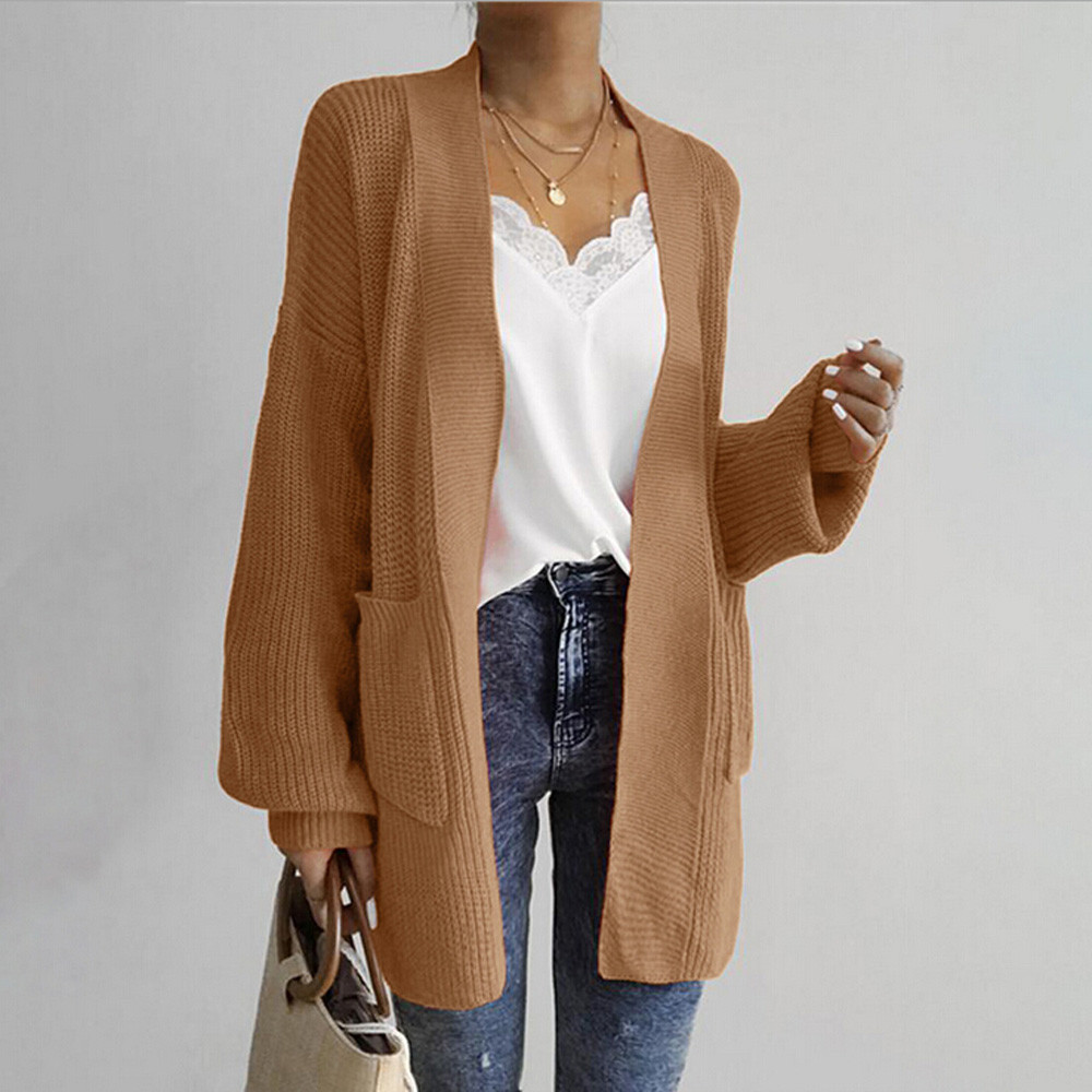 Women's autumn winter long sweaters fashion women loose long sleeve solid pocket cardigan tops sweater knitted coat