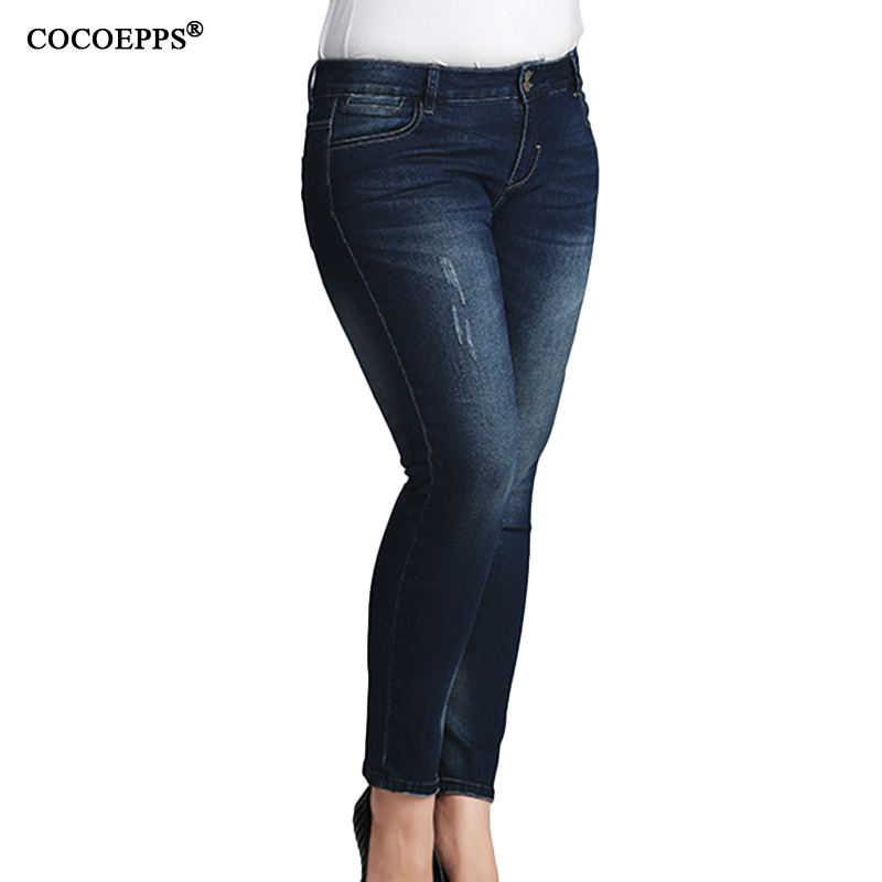 Autumn Winter Plus Size Woman Pencil Pants 2017 Casual Big Size High Waist Jeans For women Skinny Slim Demin Feminino Trousers 2015new plus size women jeans trousers casual denim pencil pants spring big elastic high waist empire legging free shipp0828xxxx