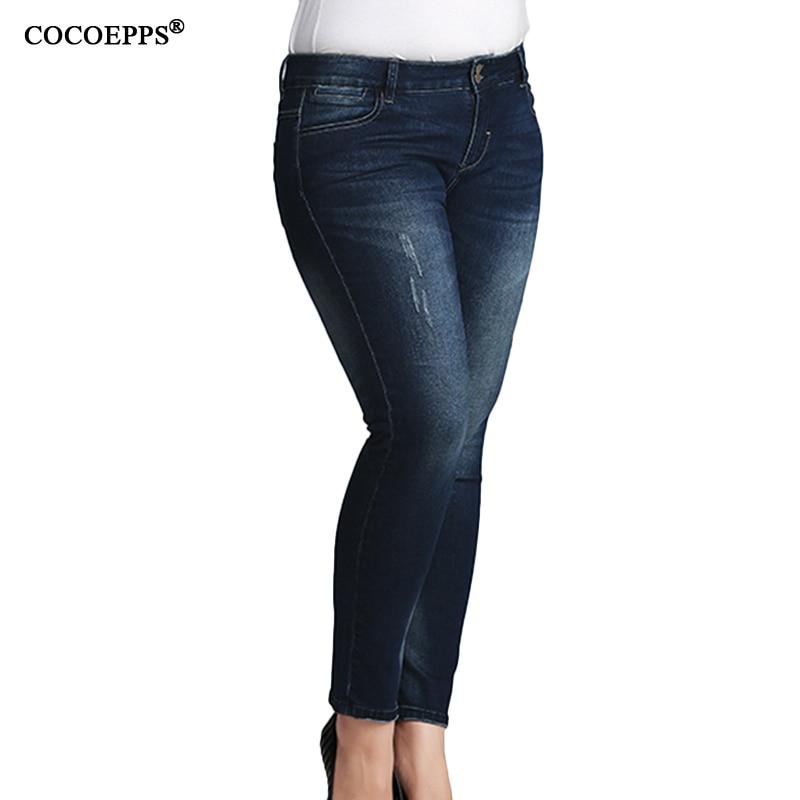 Autumn Winter Plus Size Woman Pencil Pants 2017 Casual Big Size High Waist Jeans For women Skinny Slim Demin Feminino Trousers