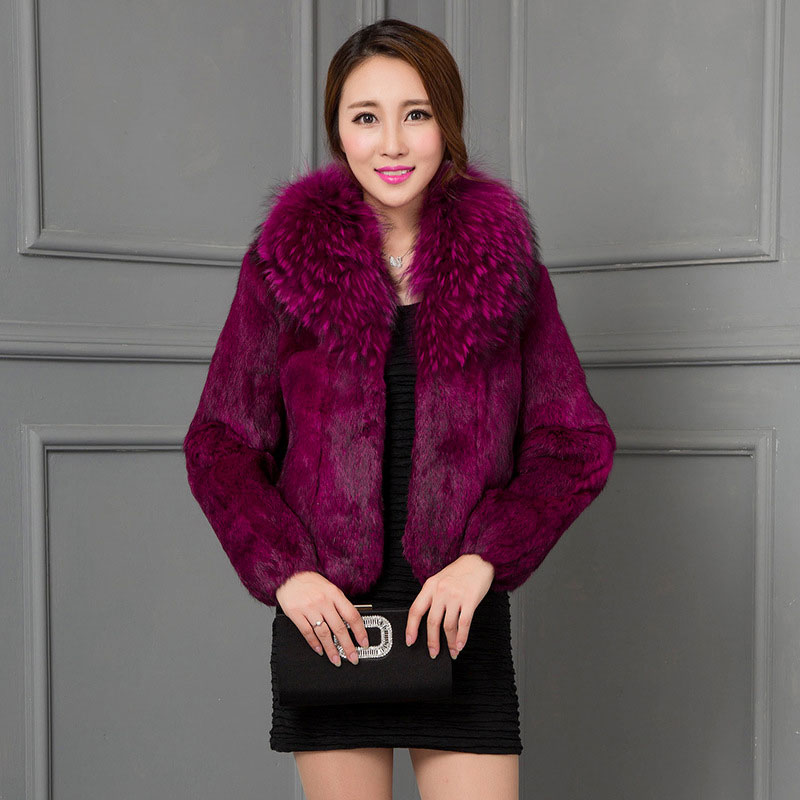 Women's Natural Fur Coat Real Rex Rabbit Fur Jacket with Raccoon Fur Collar Fur Coats rf0071