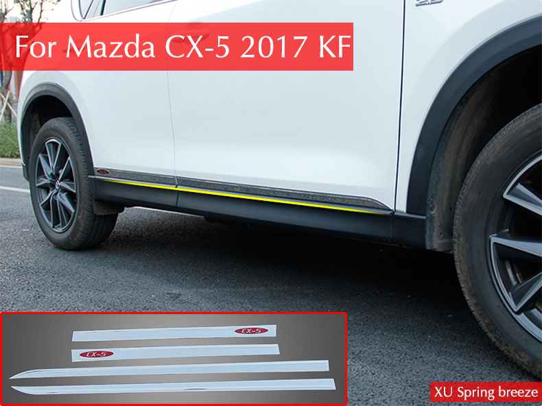 For Mazda CX-5 CX5 2017 2018 KF Car Door Body Side Protector Trim Strip Decoration Anti-rub Car styling Car Stickers 4pcs/set for mazda cx 5 cx5 2017 2018 2nd gen lhd auto at gear panel stainless steel decoration car covers car stickers car styling