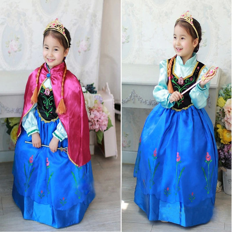 Sensfun princess anna elsa princess dress princess anna costume for kids snow grow princess anna cosplay costume for halloween