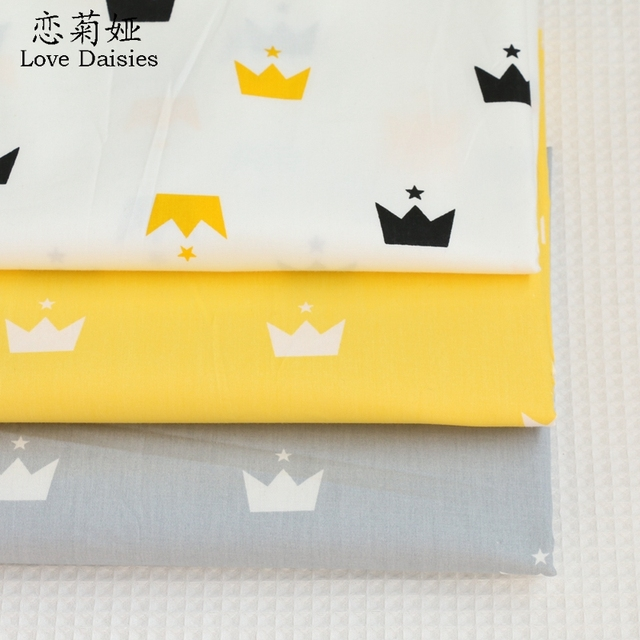 100% cotton twill cloth nordic wind white yellow gray crown star DIY for kids bedding cushions handwork patchwork fabric tissue