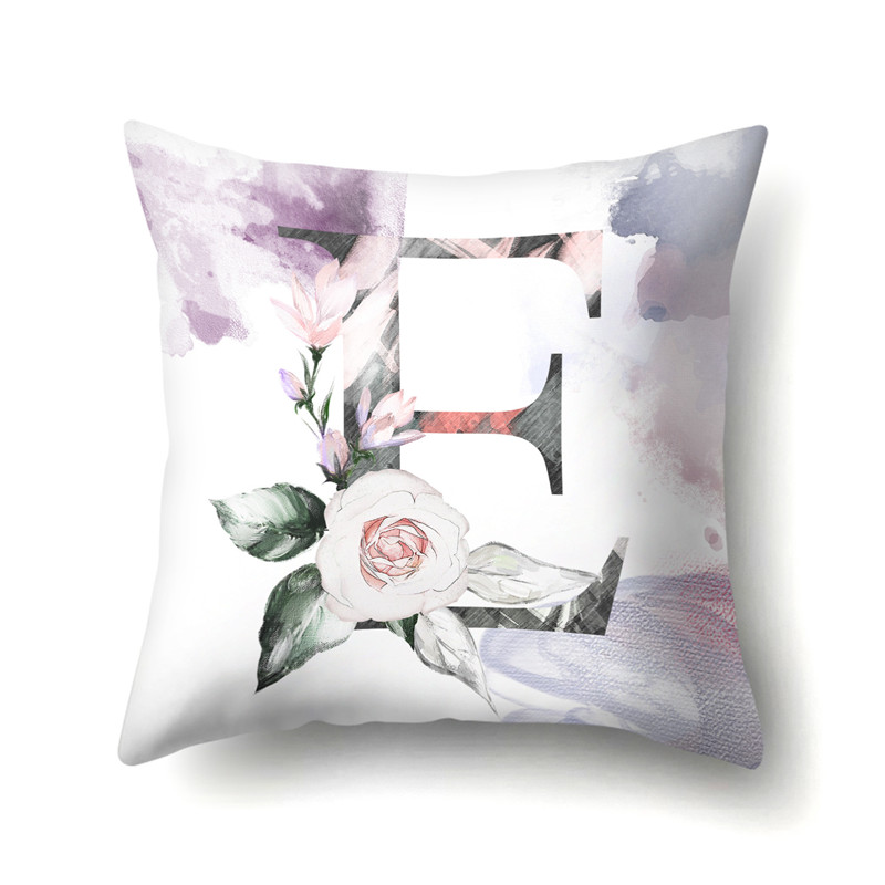 Nordic Violet Letters Cushion Cover Printed Flowers Throw Pillow Covers Decorative Purple Farmhouse Decor Plants Home Decoration in Cushion Cover from Home Garden