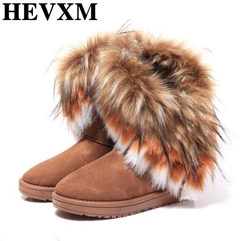 HEVXM Autumn And Winter Fashion Fox Fur Warm Wedges Snow Women Boots Shoes Genuine IMita ...