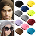 2016 Women Men New Plain Beanie Knit Ski Cap Skull Hat Warm Cuff Winter Solid Color Blank Beany